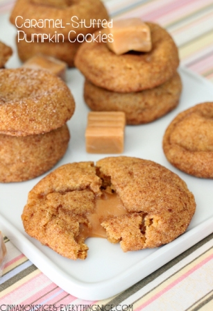 Caramel Stuffed Pumpkin Cookies (Cinnamon Spice & Everything Nice)