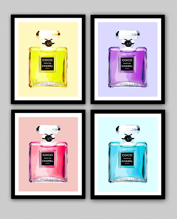Chanel Perfume Bottle Prints Set of 4 by lulusimonSTUDIO