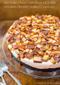 No-Bake Deep Dish Peanut Butter Snickers Pie With Salted Caramel   10 Recipes To Make With Leftover Halloween Candy