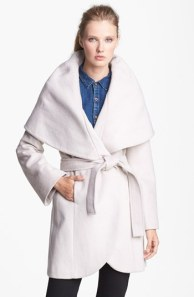 Tahari 'Marla' Cutaway Wrap Coat with Oversized Collar